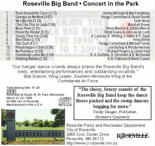 A sign at the park entrance beckons the audience to enjoy sounds of the 1940's in Roseville's Central Park band shell.
